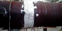 تنش زدایی موضعی خطوط جوش مخزن ذخیره پروژه نفت مناطق مرکزی ایران در محل کارفرما